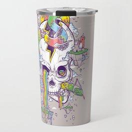 Flying Rainbow skull Island Travel Mug