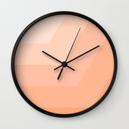 White, peach, coral, horizontal, diagonal stripe Wall Clock