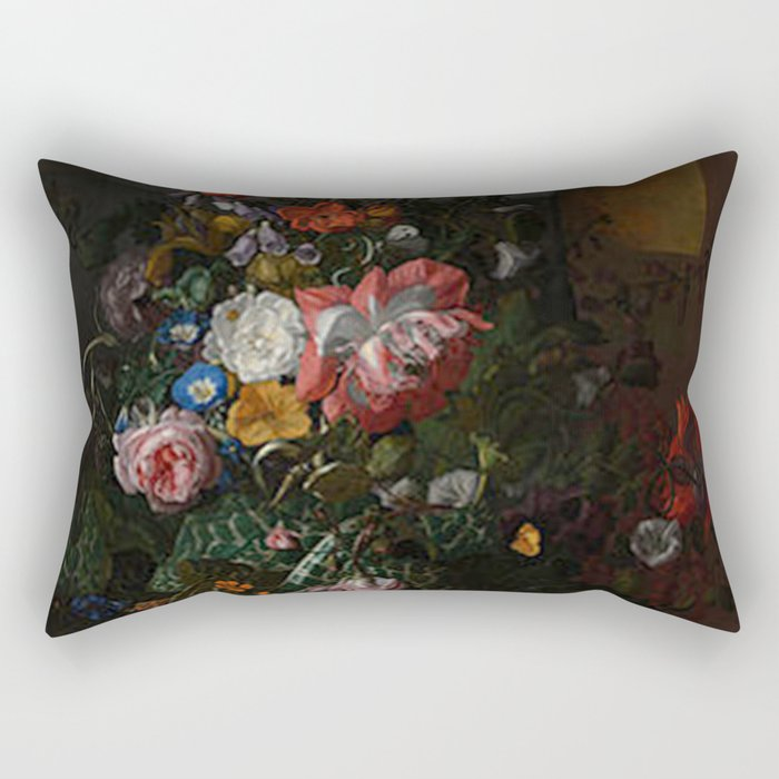 Rachel Ruysch - Roses, Convolvulus, Poppies and Other Flowers in an Urn on a Stone Ledge Rectangular Pillow