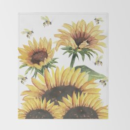 Sunflowers and Honey Bees Throw Blanket