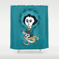 writer Shower Curtains featuring Lewis Carroll Holly Writer by roberto lanznaster