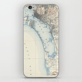 Vintage Map of San Diego California (1902) iPhone Skin
