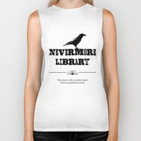 library Biker Tanks featuring Nevermore Library by Zooky
