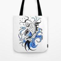 koi fish Tote Bags featuring Koi Fish  by JonathanStephenHarris