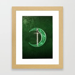 Green Celtic Moon Framed Art Print