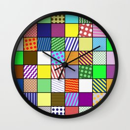 Retro Patchwork - Abstract, geometric, patterned design Wall Clock