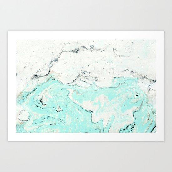 Light blue pastel marble Art Print