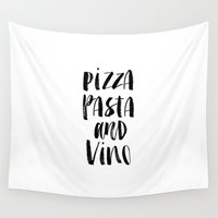 pasta Wall Tapestries featuring Pizza Pasta and Vino Watercolor Black and White Typography Print by The Motivated Type