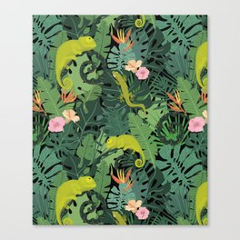 Chameleons And Salamanders In The Jungle Pattern Canvas Print