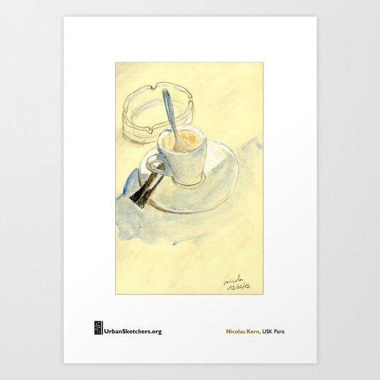 "Nicolas Kern, ""Barcelone, Café en terrasse"" Art Print"