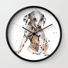 dalmatian, dalmatian puppy, dalmatian painting, cute puppy,  Wall Clock