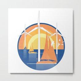 Wind Farm at Sunset Metal Print