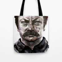 ron swanson Tote Bags featuring Ron Swanson by .Esz