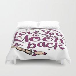 Love You to the Moon & Back...Merlot & Peach Duvet Cover