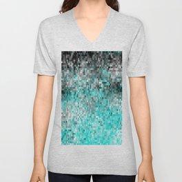 Aqua Gray Pixels Unisex V-Neck