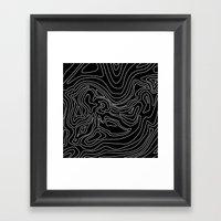 Ocean depth map - black Framed Art Print