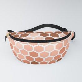 Pink brown hexagonal honeycomb pattern Fanny Pack