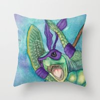 ninja turtle Throw Pillows featuring Chad the Ninja Sea Turtle Wannabe by Weasels on Easels