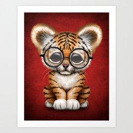 Cute Baby Tiger Cub Wearing Eye Glasses on Deep Red Art Print