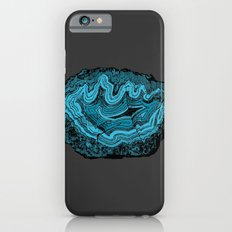 Teal & Turquoise Agate Crystal Gemstone on Gray Slim Case iPhone 6s