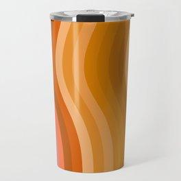 Groovy Wavy Lines in Retro 70s Colors Travel Mug