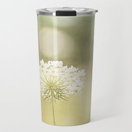 Queen Anne's Lace Nature Photography, Pale Yellow Floral Photography Travel Mug