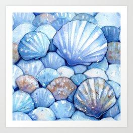 Sea Shells Aqua Art Print