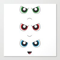 powerpuff girls Canvas Prints featuring The Powerpuff Girls by M. C.Tees