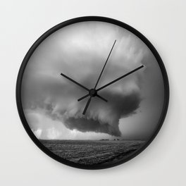 What May Come - Supercell Thunderstorm in Kansas in Black and White Wall Clock