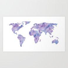 World Map Light Blue Purple Indigo Art Print