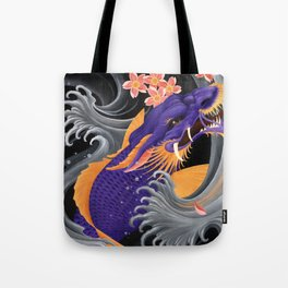 Purple Dragonkoi with Sakura Tote Bag