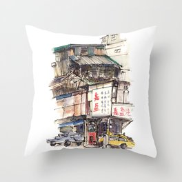 The old birds building Throw Pillow
