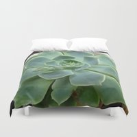succulent Duvet Covers featuring Succulent by Sara Valor
