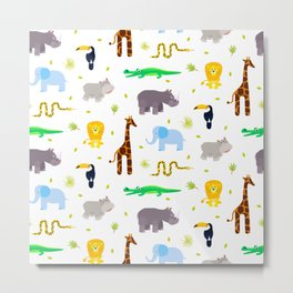 Wild african animals pattern Metal Print