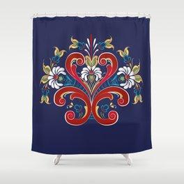Scandinavian Rosemaling II Shower Curtain