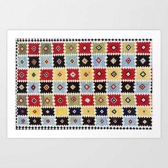 Luri Kilim  Antique Fars Persian Rug Print by vickybragomitchell