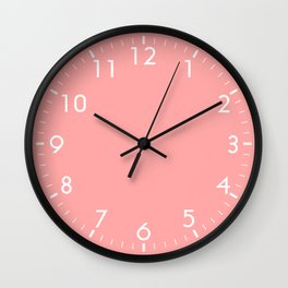 Coral Pink Pastel Solid Color Block Wall Clock