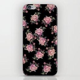 Pink Roses Dark Floral Pattern iPhone Skin