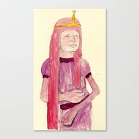 princess bubblegum Canvas Prints featuring Princess Bubblegum by withapencilinhand