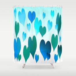 Hearts get Lighter (blue) Shower Curtain