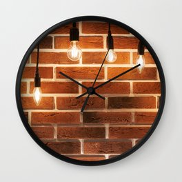 brick wall and decorative incandescent lamps Wall Clock