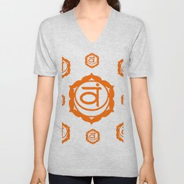 "BROWN SANSKRIT CHAKRAS  PSYCHIC WHEEL ""FEEL"" Unisex V-Neck"