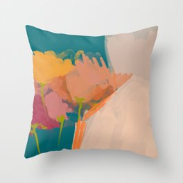 Colorful Messy Flowers On Teal Throw Pillow