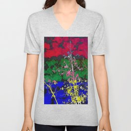 tree branch with leaf and painting texture abstract background in red green blue pink yellow Unisex V-Neck