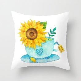 Sunflower Cup of Tea Throw Pillow