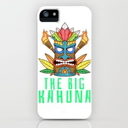 Cool Tiki Gift Design Hawaiian The Big Kahuna Print iPhone Case