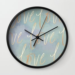 Your Love Is Gold - Blue & Green Watercolour Wall Clock
