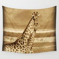 giraffes Wall Tapestries featuring Giraffes by haroulita