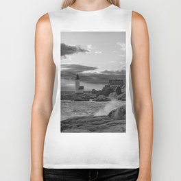 Annisquam Lighthouse Black and white Biker Tank
