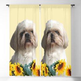 Paul Top Model - Shih tzu dog - Sunflower leaves Blackout Curtain